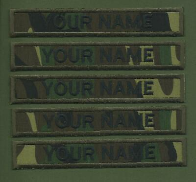 5 X Camouflage Army Name Tapes Military Name Strips Name Tags   We Make Any Size