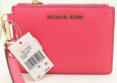 f53666ee171e Michael Kors NWT Money Pieces Small Pebbled Leather Coin Purse wristlet Pink