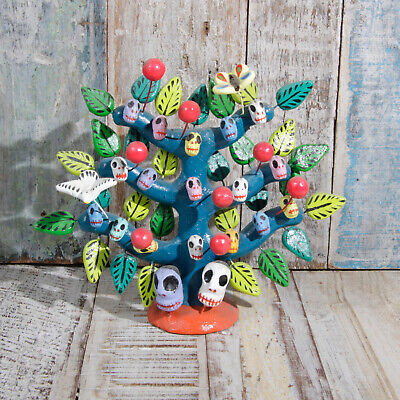 Mexican Ceramic Folk Art Tree Of SKuLLs M