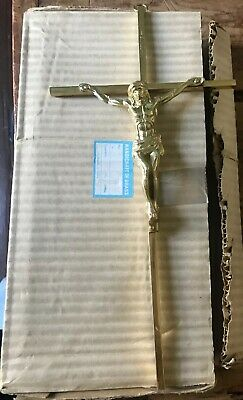 "INRI Solid Brass Handcrafted Crucifix 10"" Wall Hanging Jesus On The Cross New."
