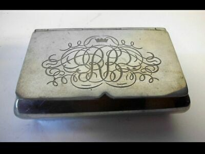 Tabakdose aus Zinn-Gravur+ Krone-vintage-BEST ENGLISH PEWTER-tobacco box-crown