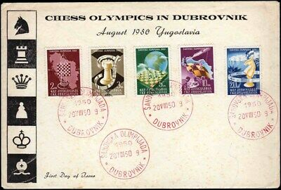 YUGOSLAVIA #300-4 Chess. Olympics. Globe. Illustrated First Day Cover!