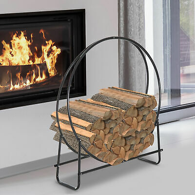 🔥 Metal Log Basket Wood Storage Indoor Modern Black rack 🔥