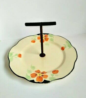 Vintage Art Deco Serving Plate Tray stand Hand Painted Floral Cake Antique retro
