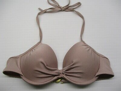 a7517fe9ea34b VS VICTORIA'S SECRET 34A Bikini Top Push Up Twist Front Gray Underwire  Halter