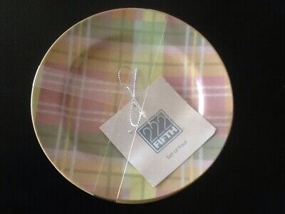 222fifth Easter Plaid 4 New Appetizer/dessert Plates