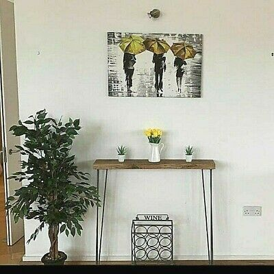 Narrow Console Table With Hairpin Legs / Rustic Hallway Table