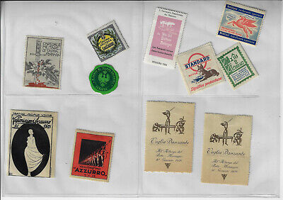 Lot of 11 Vintage Italian Advertising Stamps Standard Motor Oil Mobil Gas