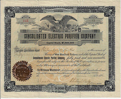 ILLINOIS 1896 Consolidated Electric Purifier Company Stock Certificate