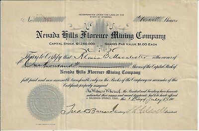 NEVADA 1907? Nevada Hills Florence Mining Company Stock Certificate Fairview