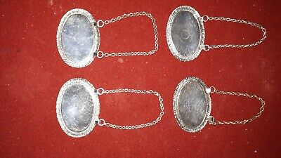 4 SILVER PLATED DECANTER LABELS/TAGS. Gin - Whisky - Brandy - Sherry