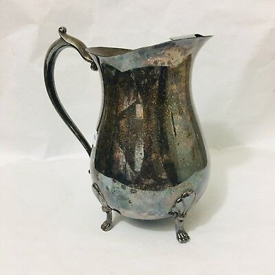 Vintage Leonard Silver Plate Footed Water Pitcher With Ice Lip 9""