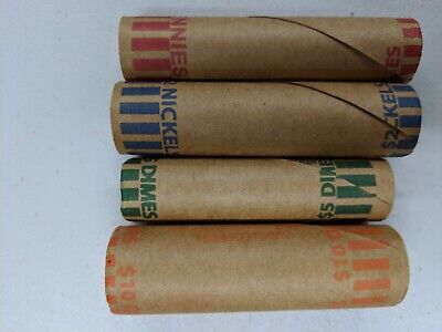 100 Rolls Preformed Coin Wrappers Paper Tubes Quarters Dimes Nickels Pennys
