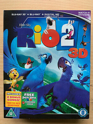 Rio 2 Blu-ray 2014 Animated Feature Film Movie in 2D + 3D with Slipcover
