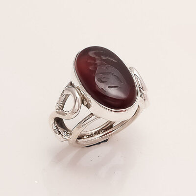 925 Sterling Silver Muslim Holy Quran Natural AqeeqGemstone Ottoman Jewelry Ring