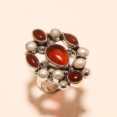 Natural Egyptian Carnelian Gemstone Sterling Silver Ring Vintage X-Mass Jewelry