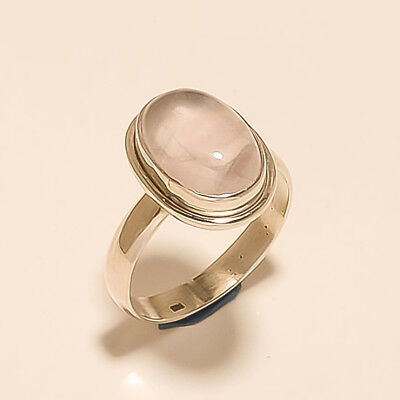 Natural Brazilian Rose Quartz Ring 925 Sterling Silver Handcrafted Jewelry Gifts
