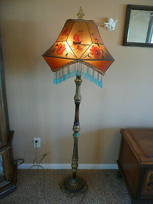 Vintage Antique Ornate CAST IRON BASE FLOOR LAMP Beaded Shade Dual Sockets
