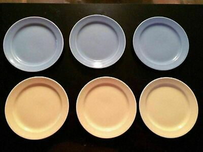 Retro Vintage LuRay Pastel Dinnerware Set of 6 Dessert Plates Yellow & Blue
