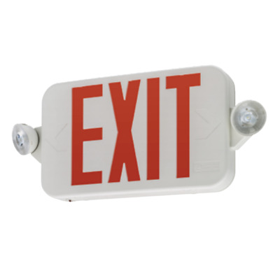 Lithonia Single/Double Face LED White Exit Sign Red Letter Round Head Remote