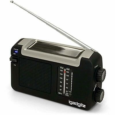 iGadgitz Xtra Wind Up, Solar, USB Rechargeable Portable AM/FM Radio with 3 Yea