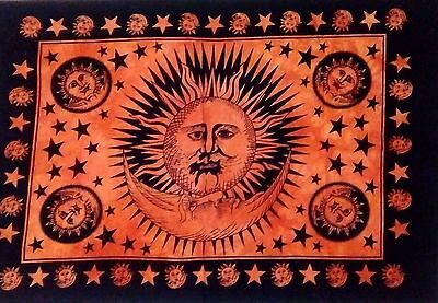 ATTRACTIVE Tapestry SUN FACE MOON & STAR BOHEMIAN -Wall Hanging ETHNIC-Poster +2