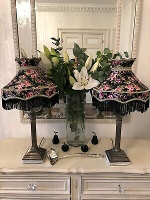 Vintage Victorian Downton Abbey AntiqueTraditional Black Lampshades 1 Available