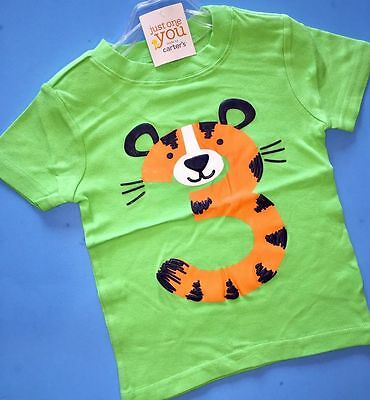 NEW 3rd Birthday TIGER Baby Boys Shirt 4T Green 3 Years Gift SS Carters