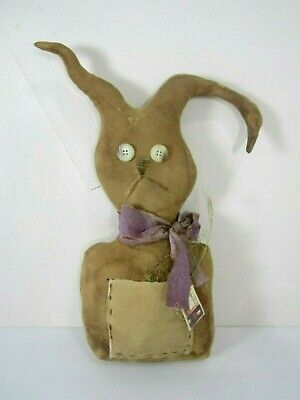Primitive Taggedy Tea Stained Stuffed EASTER BUNNY RABBIT By Olde Lady Morgan