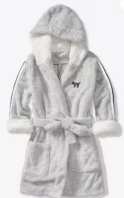 New Victorias Secret PINK Sparkle Hooded Robe Gray Silver XS/S