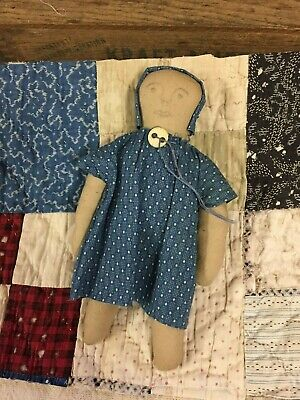 Early Style Doll~Vintage Blue Calico Fabric~Old Quilt Piece Primitive Farmhouse