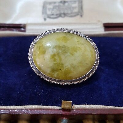 Victorian Sterling Silver Brooch, Large Connemara Marble, Dated 1878 Antique