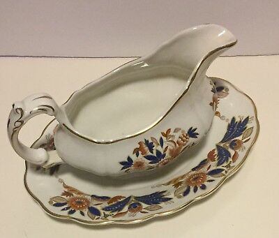Booths Dovedale Rust and Blue Imari Sauce/Gravy Boat With Attached Underplate