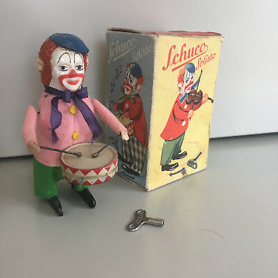 Schuco Solisto Wind-Up Drumming Clown With Original Box And Key. Fully Working!!