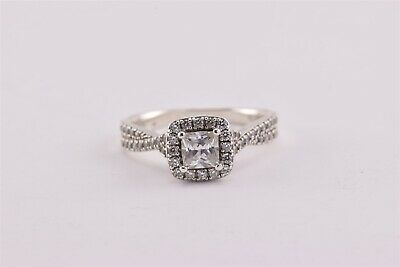 Sterling Silver Cubic Zirconia Solitaire Halo Accent Twist Band Ring 925 Sz: 9