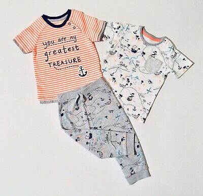 Primark Baby Boys T-shirt Pirate Top And Grey Jogging Bottoms Outfit 9-12 Months