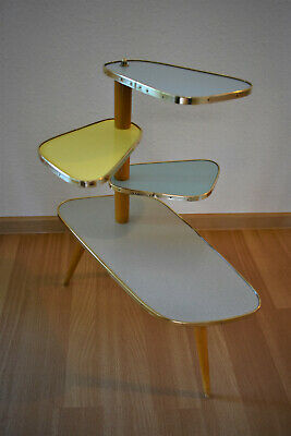 Vintage 50s 60s Multicolour Wood Formica Brass Plant Stand Mid Century Modernist