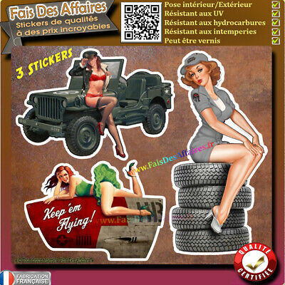 3 Stickers autocollant pin-up old school pin up pinup bobber harley