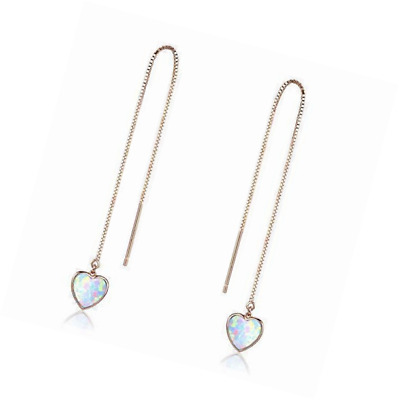 Heart Threader Earrings Opal Long chain 18K Rose Gold Plated Sterling Silver Ear