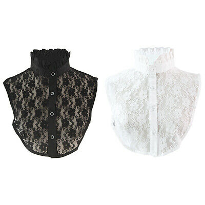 Women Lace Detachable Fake Shirt Collar Choker Hook Flower Fake Blouse Collar US