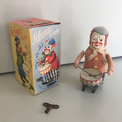 Schuco Solisto Wind-Up Drumming Clown With Original Box & Key. Fully Working!!