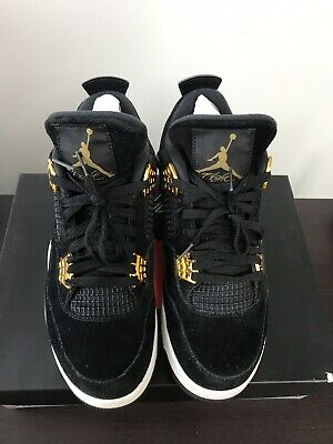 d03ce79c551a9c Nike Air Jordan Retro 4 Retro Royalty Black   Gold Men s Basketball Shoes Sz  8.5