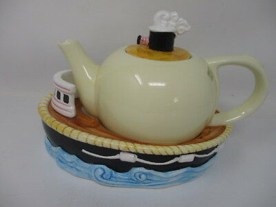 Tugboat Teapot And Trivet Base New In Box