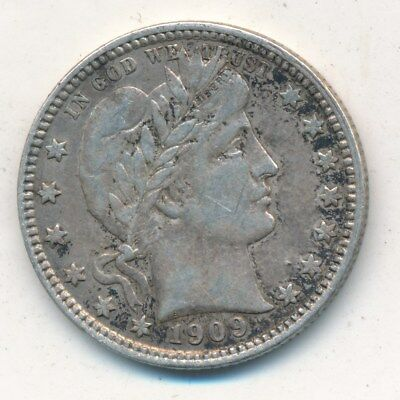 "1909-D Barber Silver Quarter-Very Nice Gently Circulated-""liberty"" Full Free S/h"