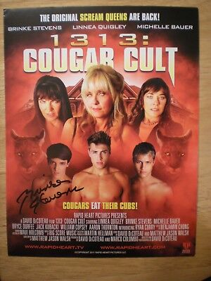Hand Signed Photo 8.5 X 11 Cougar Cult..they Eat Their Cubs' Brinke Stevens-Coa