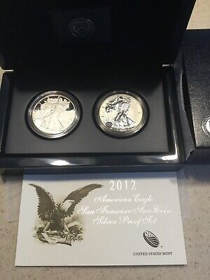 2012-S American Eagle San Francisco 2-coin Silver Proof Set. Reverse. COA.