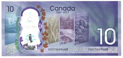 CANADA $10 / POLYMER 2017 / Used VF condition / 150th Anni