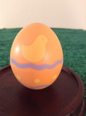 Hallmark Merry Miniatures Decorated Easter Egg. Orange.  Yellow Chick