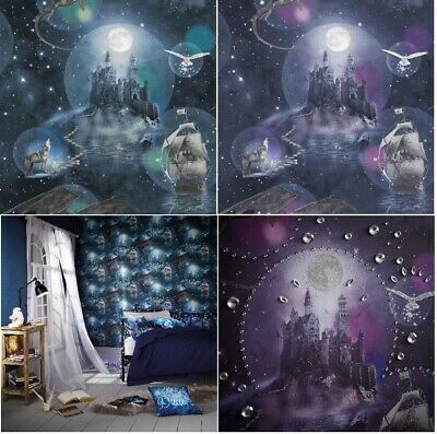 Magical Kingdom Wallpaper Harry Potter Style Design by Arthouse in Purple & Blue