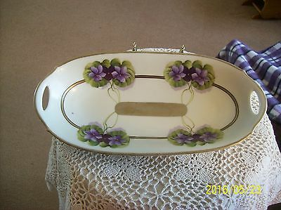 PM Bavarian German Vintage Porcelain Long Double Handled Celery Dish Violet Patt